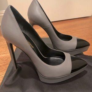 Yves  Saint Laurent grey and black pump shoes